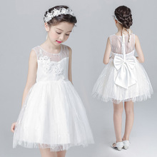 B40112A Wholesale girls white sleeveless party princess dresses