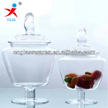 decorative storage glass good jar with stem /glass jar for home