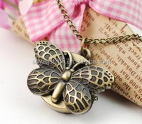 Pocket Watch With Chain Bronze Tone Butterfly Pendant Necklace Watch