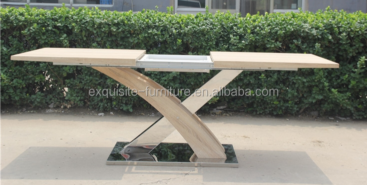 factory wholesales space save extendable wooden dining table function table with wooden veneer legs X shape