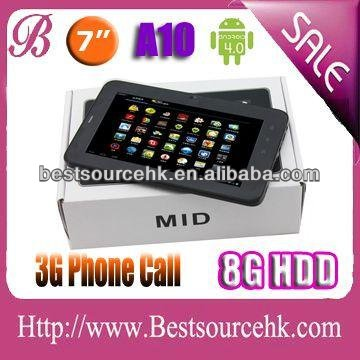 3G build in phone call cortex a8 mali-400 GPU android 4.0 tablet pc with 7 inch