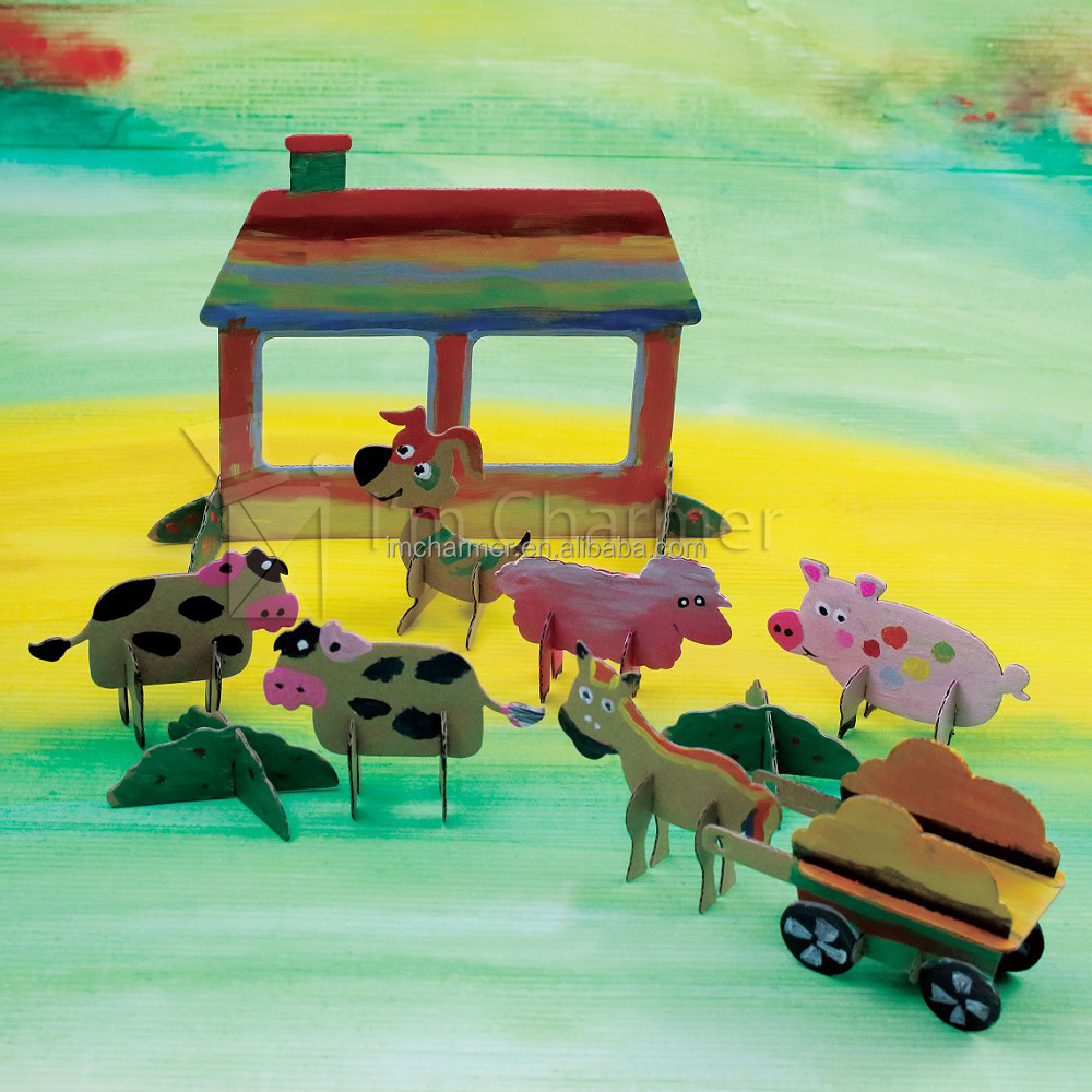 DIY Nativity Kids Painting Puzzle,Family Time Educational Kits,Fun 3D Farm Animal Cardboard Drawing