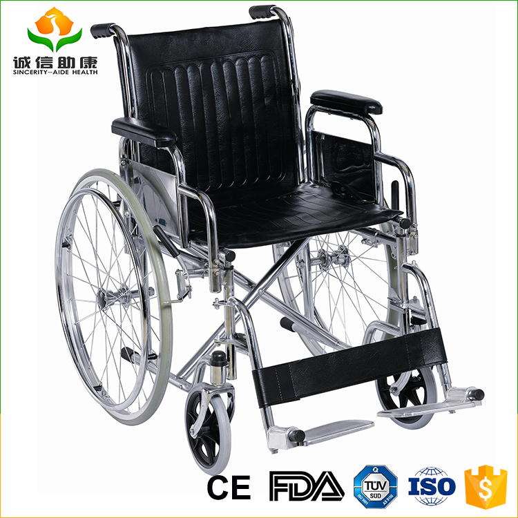Outdoor high quality portable steel wheelchair rolling chair for elder with China manufacturer
