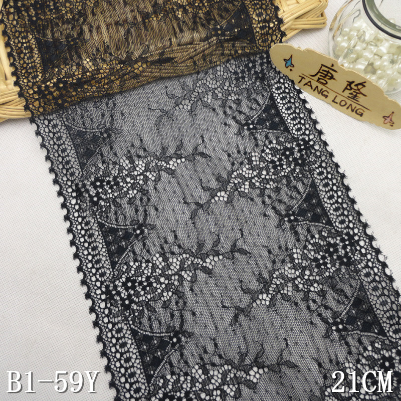 "21cm/8"" wide eyelet straight border black stretch lace for panty"