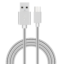 New product wholesale 1m USB 3.1 Type-C Male to USB 2.0 Male Data Sync Charging Metal Wire Spring Cable for Google & LG