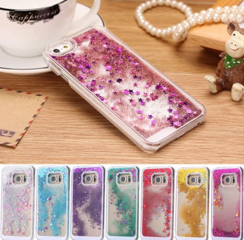 New Style Colorful Quicksand Cover Transparent Liquid Glitter TPU PC Phone Case For samsung