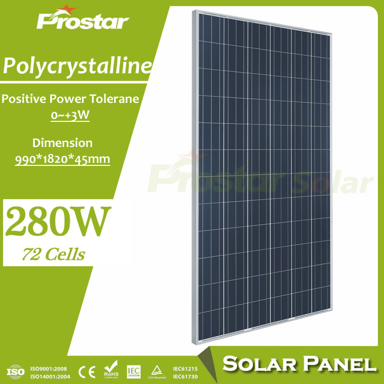 Prostar alternative energy sources <strong>poly</strong> solar panel 280w