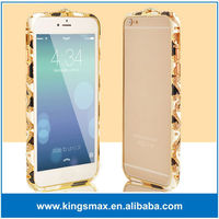 Luxury Gold bling bling rhinestone aluminum metal bumper case for iPhone 6 plus