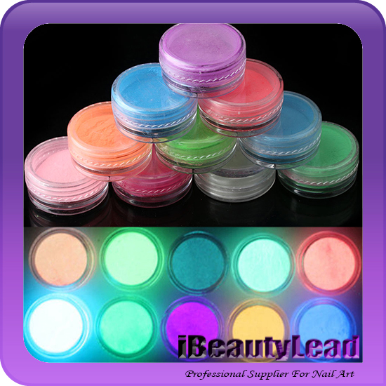 NEW Random 10 pcs Neon Colors Phosphorescent Fluorescent Nail Art Powder Glow In Dark Acrylic Powder