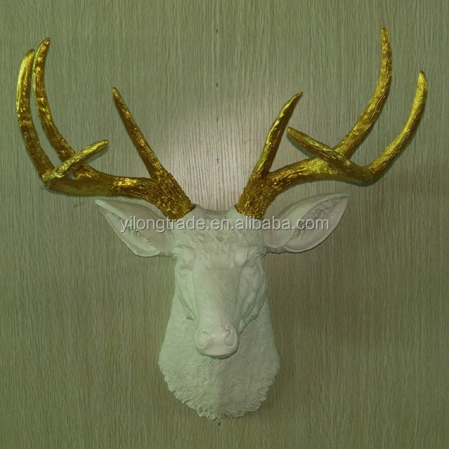 christmas decor Wall Sculpture Life Size Animal figurines Deer Head Custom Character Resin Statue