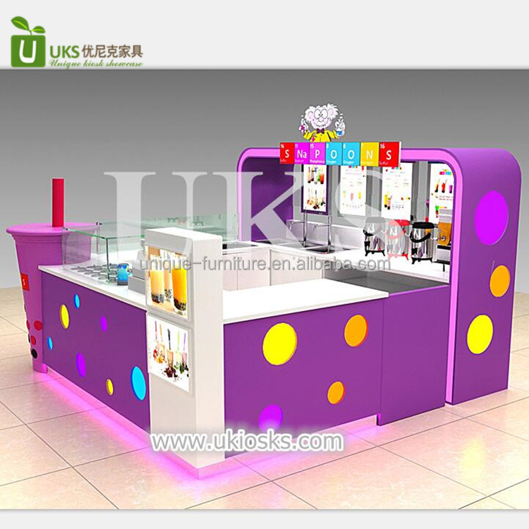 Colorful mall food smoothie kiosk , commercia juice bar counter with led light for sale milkshakes
