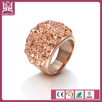 wholesale stainless steel fashion ring gold plated rhinestone ring
