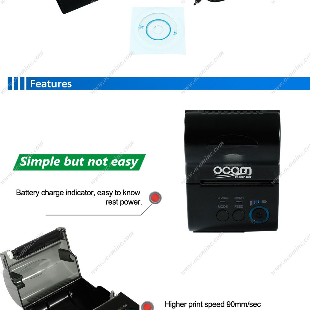 OCPP-M03: Reliable battery Win Java android or iOS supported SDK available 58mm bluetooth thermal mobile printer