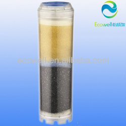 2 stages resin and activated carbon filter cartridge for water filter