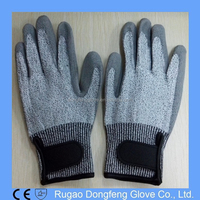 Cheap Level 3 Protection PU Coated Cutting Gloves/PU Anti Cut Resistant Gloves