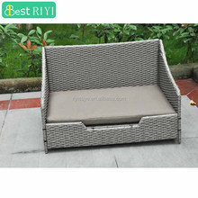 KD Larger Handwoven Grey Rattan Wicker Dog Bed Pet Basket with Washable Cushion