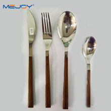Wood Stainless Steel Cutlery Set Wooden Handle Flatware Set Knife Fork Spoon