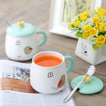 Cartoon bird creative ceramic cup, summer juice ceramic mug