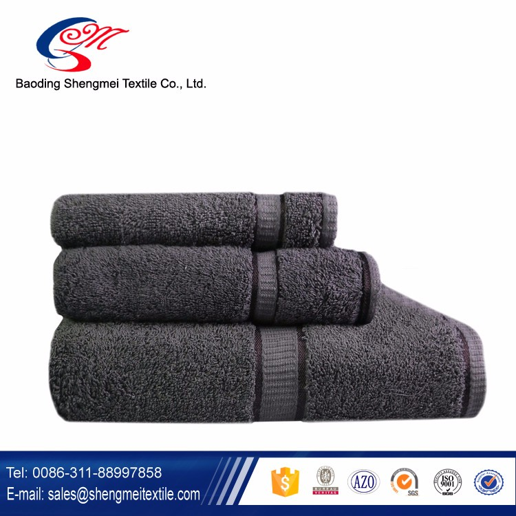 China Wholesale 600 gram 100% Cotton 3Piece Bath Towel in Gray