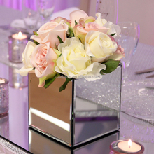 Hot sale cheap decorative square glass mirror vase for wedding centerpieces