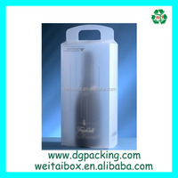 Plastic wine packaging Box with handle&clear port wine packaging bag