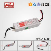 IP67 Steady SFS-10-12 ac/dc waterproof series power supply 12w 12v for led driver with CE approved