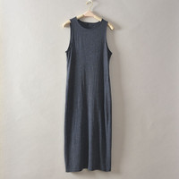 Fashion solid gray simple long dress tank vest casual summer loose sleeveless softtextile women frock top