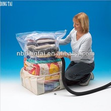 reusable vacuum storage bag for clothing, jumbo transparent storage bag