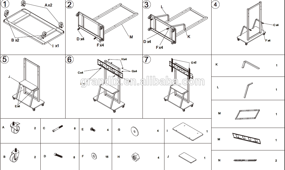 LCD TV Stand mobile trolley cart for 42-70screens