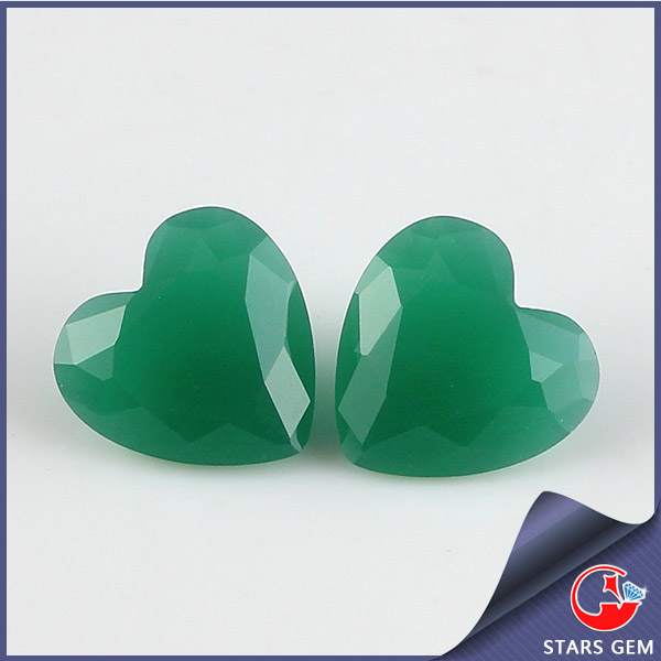 China excellent heart cut synthetic gemstone Malaysian jade gems