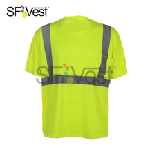Mens Short Sleeve Round Neck T-shirt High Visibility Reflective Vest Working Place Wear Shirt