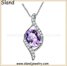 wholesale alibaba com Low MOQ 100pcs inlay cz and amethyst sterling silver pendant chain - 925 silver gemstone necklace