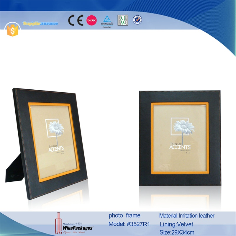 New Fashion black leather photo frame, New Design Handmade Promotional Cheap Pu Leather Photo