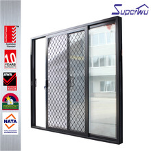 Superwu latest kitchen black aluminium sliding door grills design