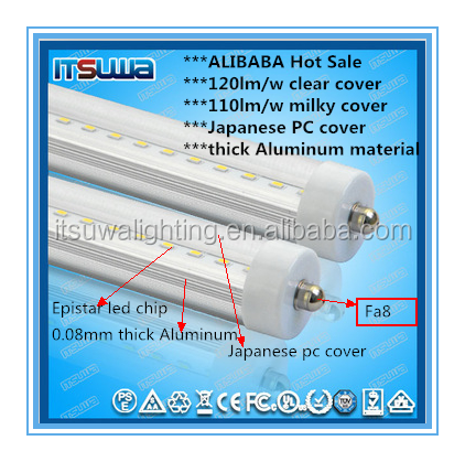 UL and DLC listed 4ft single pin or G13 or R17D base 180 degree rotatable china t8 led light tube with 3 years warranty