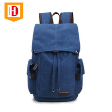 Stylish Canvas Classic Laptop Drawstring Backpack Leisure Day Backpack Travel Student Bag Men