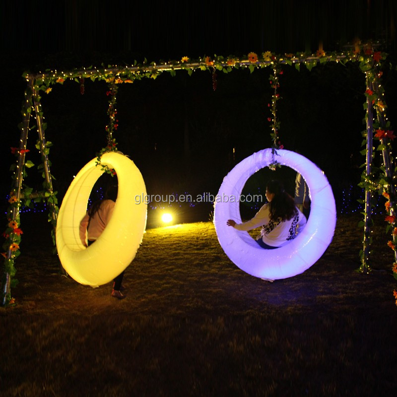 hot sale plastic led outdoor furniture 16colors changing swing garden swing