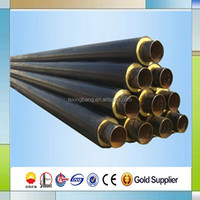 pre insulated steel pipe covered with PU foam insulation with galvanized steel or hdpe casing