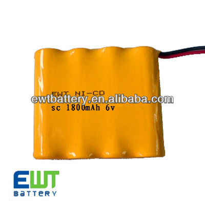 6v sc 1800mah rechargeable battery pack/6.0v nicd battery pack