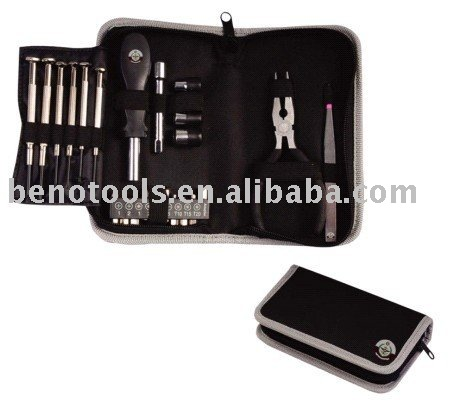 ningbo beno tools bag company 600D black color with printed logo 25pcs tool set masturbation tools