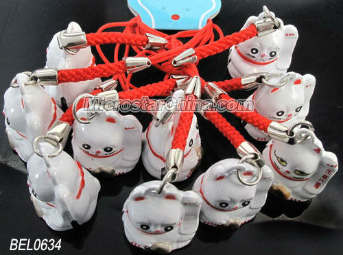 Lucky cats bell with mobile strap 20*23mm hole: 2.0mm length: 7.5cm