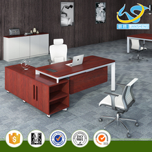 High quality Modern L shape office desk executive desk MFC desk with aluminum wire box and side cabinet