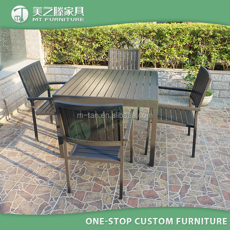 2017 new grey poly wood chair and table set outdoor teak polywood furniture