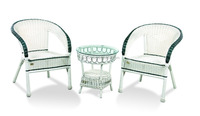 white PE rattan chairs and small round side coffee tea table set with tempered glass
