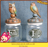 2015 Bird Shape Wooden Lid Glass Canister Set With Rack wholesale
