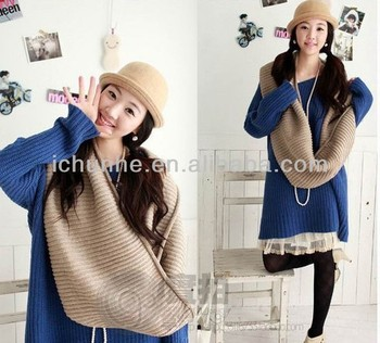 colorful fashion winter knitted scarf/neck warmer factory