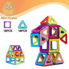 Minitudou Mini 36 PCS Kids Toys Educational Toys Airplane Robot Kit Magnetic Building Models Brick Magnet Block Toys