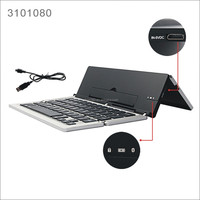 Tri-fold Aluminum portable foldable bluetooth mini keyboard with battery for iPad IOS Android phone Computer keyboard