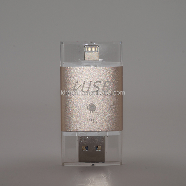 Wholesale 16GB memory stick OTG USB flash drive USB 2.0 metal U disk custom logo for iphone ipad android pc