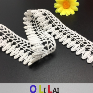 2.5CM OLT0198 Natural White Cotton Bridal Lace Trim African Style